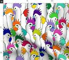 Rainbow Rooster Colorful Farm Chicken Chickens Fabric Printed by Spoonflower BTY
