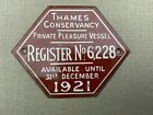 Vintage River Thames Conservancy PPV Licence plate 1921 #2