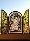 Glassmasters angel blowing horn triptych suncatcher stained glass