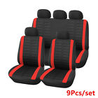 9Pcs Polyester Car Seat Covers Front Rear Full Set Washable Cushion Black Red