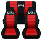 Front+Rear car seat covers black red w mountain sunset fits wrangler YJ TJ LJ