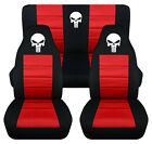 Front+Rear car seat covers black red w punisher skull fits wrangler YJ TJ LJ