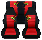 Front+Rear car seat covers black red w tree frog fits wrangler YJ TJ LJ