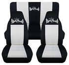Front+Rear car seat covers blk white w mountain sunset fits wrangler YJ TJ LJ