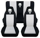 Front+Rear car seat covers blk white w punisher skull fits wrangler YJ TJ LJ