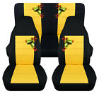 Front+Rear car seat covers black yellow w tree frog fits wrangler YJ TJ LJ