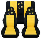 Front+Rear car seat covers blk yellow w paw prints fits wrangler YJ TJ LJ