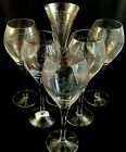 Romanian Crystal Wine Glasses Etched and Colored 10 tall Set of 4