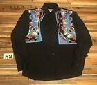 Vintage Western Wrangler Button Up Shirt Mens Small Rare Native Black Colorful
