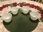 MiLK GLASS CUPS SET OF 4 With Ribbed Design
