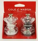 COLE  MASON Button Mini Salt and Pepper Grinder Set Stainless Steel Mills