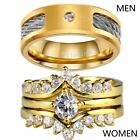 Couple Ring Wire rope Titanium Mens Ring Yellow Gold Filled Womens Wedding Ring