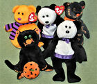 TY BEANIE BABIES HALLOWEEN LOT COUNT SUPERSTITION CAT SHIVERS GHOST BEAR YIKES