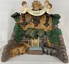 Ceramic Christmas Village Stable Nativity Scene With Snow On Roof