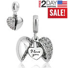 Pandora Charms Bracelet I Love You Heart Bead Women Valentines Gift