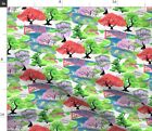 Japanese Garden Maple Bonsai Wisteria Kimono Fabric Printed by Spoonflower BTY