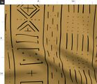 Interiors Drawing Digital Native Mud Cloth Fabric Printed by Spoonflower BTY