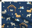 Religious Christmas Nativity Blue Baby Jesus Fabric Printed by Spoonflower BTY