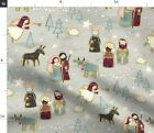 Nativity Scene Christmas Baby Jesus Ox Donkey Fabric Printed by Spoonflower BTY