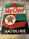 TEXACO FIRE CHIEF porcelain sign vintage GASOLINE brand petroleum gas pump plate