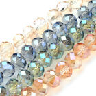 10 Strds Random Electroplate Glass Beads Faceted Rondelle Tiny Loose Bead 10x8mm