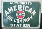 AMOCO AUTHORIZED AMERICAN OIL COMPANY STATION ~ Wooden Sign