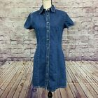 Gap Womens Vintage Style Denim Snap Front Shirt Sleeve Dress Size 8