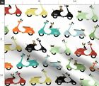 Mopeds Vintage Bikes Colorful Dog Cat Feline Fabric Printed by Spoonflower BTY