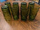 Set of 8 Vintage Indiana Glass Colony PARK LANE Olive Green Tumblers 5.5