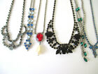 Vintage Art Deco Rhinestone Necklaces Mixed Colors Shapes  Sizes Lot of 6