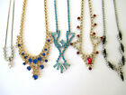 Vintage Rhinestone Necklaces Art Deco Style Mixed Colors Shapes  Sizes Lot of 5