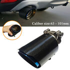 63 101mm Universal Blue Steel Real Carbon Fiber Exhaust Tailpipe Muffler End Tip
