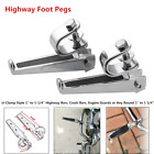 2×Motorcycle Foldable Engine Bumper Rod Crash Highway Bar Guard Silver Foot Pegs