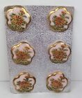 Vintage Japanese Hand Painted Satsuma Buttons PINK Porcelain 7 8 Lot 6 on Card