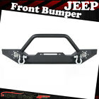 FOR 1987-2006 JEEP WRANGLER YJ TJ FRONT BUMPER WITH WINCH PLATE 2 LED LIGHTS