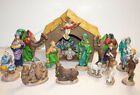 Atlantic Mold Ceramic Nativity 20 Pc w Lighted Stable 1970s Creche Vintage