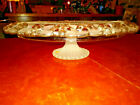 Vintage FROSTED AND CLEAR GLASS CAKE PLATE Floral Pattern  Trumpet Pedestal