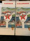 2 Pcs. 1964 Texaco Oil Gas. Road Maps.