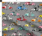 Vespas On Gray Vespa Moped Scooter Colorful Fabric Printed by Spoonflower BTY