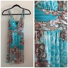 Womens City Triangles Turquoise  Brown Flowered Sun Dress Size Medium