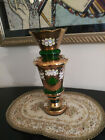 Bohemian Czech Emerald Green with Gold Glass Vase