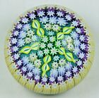 Perthsire Millefiori Glass Paperweight Small 2 Bottom Cane Signed Blue Yellow