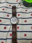 Tommy Hilfiger brown genuine Leather Watch With Chrome Chronograph