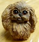 Vintage 1984 Pekingese Dog Resin Figurine Cute Long haired brown dog 3