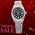 Rolex Mens Stainless Steel Datejust  - Black Diamond Dial - Jubilee Band