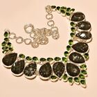 BEAUTIFUL FACETED DICHROIC GLASS WITH PERIDOT 925 STERLING SILVER NECKLACE 18