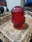 Vintage Ruby Indiana Glass Red Fairy Lamp-Flash Red Glass  Stars and Bars