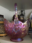 FENTON ART GLASS Co USA PINK Iridescent LILY OF THE VALLEY 7 1 2 Basket w tag