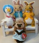 TY Peter Rabbit Beanies Cotton tail, Mopsy, Mrs Tiggy Winkle, Jemina Puddle Duck