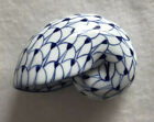 White And Blue Snail Glass Paperweight